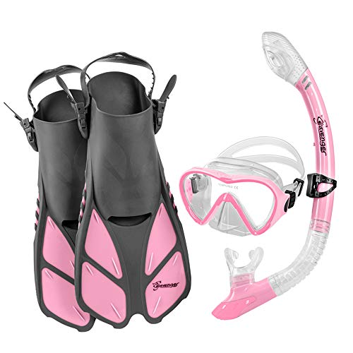Seavenger Aviator Snorkeling Set | Travel Trek Fins, Dive Mask, Dry Top Snorkel and Gear Bag | Kids and Adults (Gray/Clear Silicone/Bubblegum Pink, L/XL)