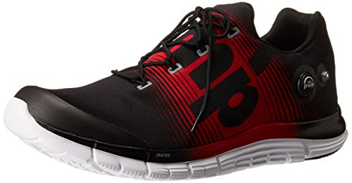 Reebok Running Pumps (Reebok Men's Zpump Fusion Running Shoe, Black/Red Rush/White, 12 M US)