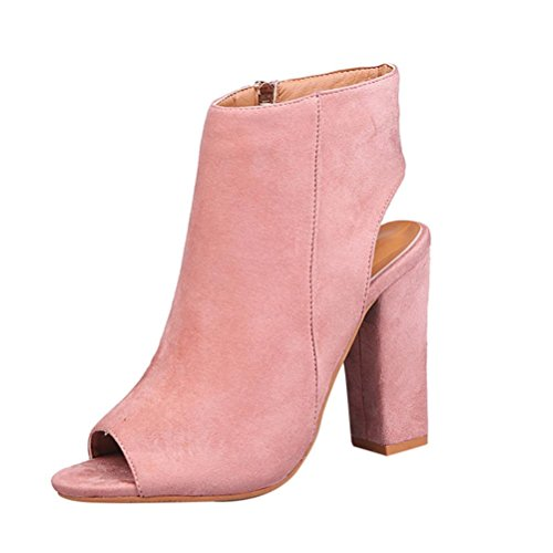 Colorful TM Women Fashion Solid Color Peep Toe Wedges High Heeled Sandals Shoes Pink