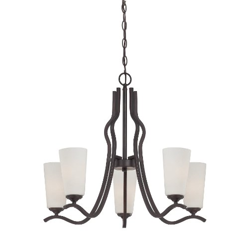 13 Bronze Transitional Chandelier (Savoy House 1-6220-5-13 Charlton 5-Light Chandelier with White Etched Glass, English Bronze Finish)