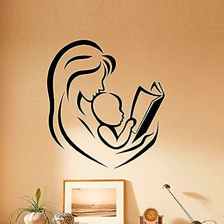 hllhpc Madre y bebé Leyendo Libros Pegatinas de Pared decoración ...