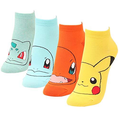 WOWFOOT Cute Pokemon Cartoon Character Print Cotton Crew Floor Socks For Women Girl Boy (4 pair - Pokemon II)]()