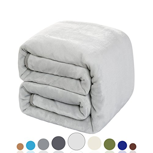 Balichun Luxury 330 GSM Fleece Blanket Super Soft Warm Fuzzy Lightweight Bed or Couch Blanket Twin/Queen/King Size(Travel ,Silver (Nap Queen Blanket)