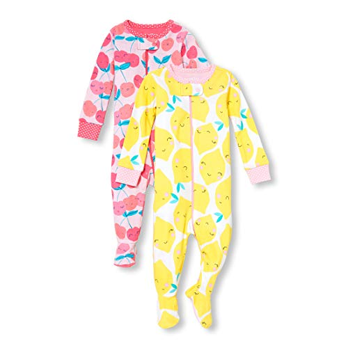 (The Children's Place Baby Girls 2 Pack Novelty Printed Long Sleeve Footed Sleepers, Lemon/Cherry, 5T )