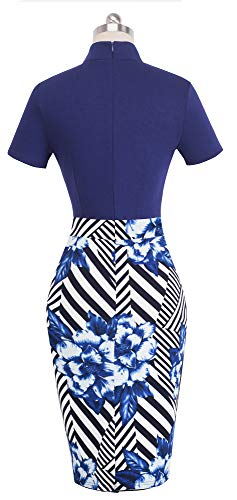 HOMEYEE Women's Short Sleeve Business Church Dress B430 (6, Dark Blue Stripe) by HOMEYEE (Image #2)