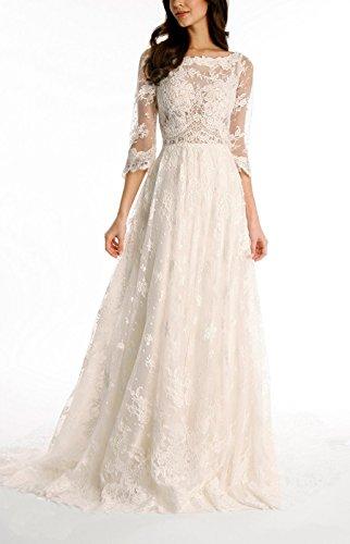 Tsbridal Lace Wedding Dress 3 4 Sleeves Bohemian Bridal