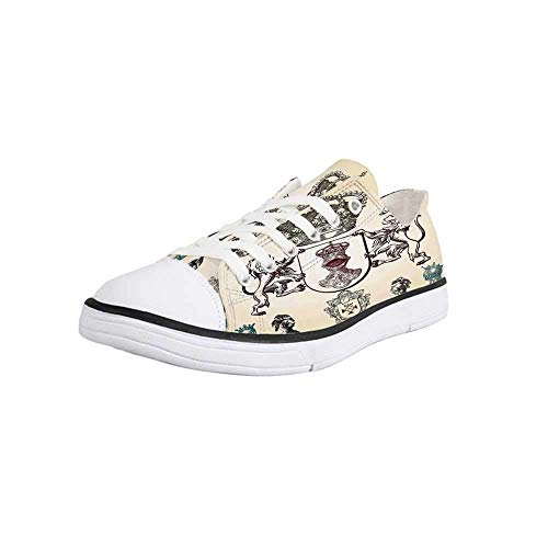 (Canvas Sneaker Low Top Shoes,Medieval,Shield Design with Various Ancient Figures Coat of Arms Blazon Crown Print Man 10 )
