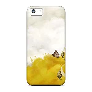 For Iphone 5c Tpu Phone Case Cover(trees Yellow Roads Artwork Villages Yellow Field)