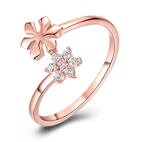 - Aokarry Womens S925 Sterling Silver Engagement Wedding Anniversary Ring CZ Flower Bypass Open Rose Gold