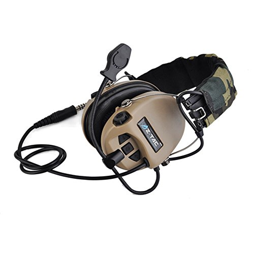 IRON JIA'S Shooting Earmuffs Hunting Tactical Headset Noise Canceling Camouflage Headphone Standard Military NATO Plug Walkie Talkie Helmet Z-111 (Desert)