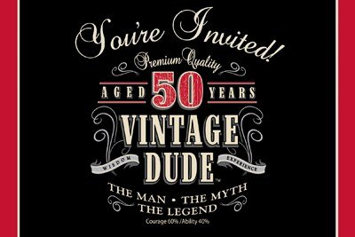 Club Pack of 48 Vintage Dude 50th Birthday Party Gatefold Paper Invitations 6