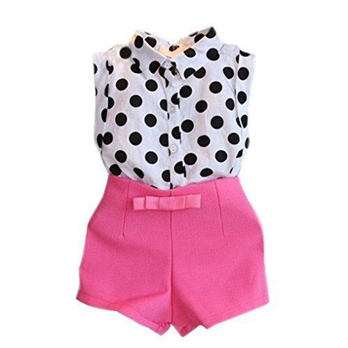 Mosunx(TM) Cute Girls Polka Dot T-shirt Tops+Bowknot Pants Shorts Outfits Clothes 2Pcs/Set (3-4 Years, Hot Pink) - Girls Polka Dot Clothing