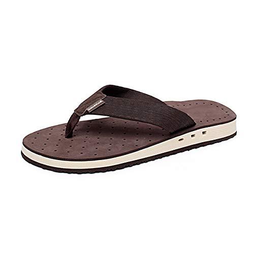 HSBUY Men's OP Flip Flops Brown Indoor Casual Sandals Pool Slippers Anti Slipper Size 8