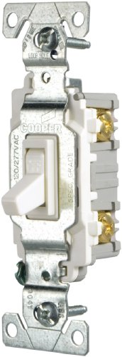 EATON Wiring CSB115STW-SP-L 15-Amp, 120/277-Volt/AC Commercial Specification Grade Single Pole AC Toggle Switch, White