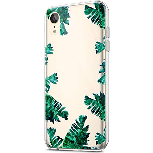 ikasus Case for iPhone XR,Clear with Design Protective Bumper Embossed Art Painted Pattern Soft Flexible TPU Silicone Ultra-Thin Transparent Girls Women TPU Case Cover for iPhone XR Case,Banana leaf