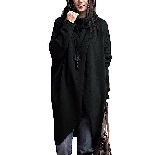 KASAAS Womens Autumn Winter Solid Trend Warm Fashion Turtleneck Asymmetric Hem Long Sleeve Sweater(XXX-Large,Black) -
