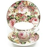 Maxwell & Williams S31225 Royal Old England - Juego de café (porcelana, se incluyen taza, platillo y plato, en caja regalo), diseño de rosas