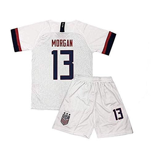 UASLM USA National Home White Jersey 13 Alex Morgan Kids/Youths Soccer Jersey & Shorts Size 22 (Childrens Usa Soccer Jersey)
