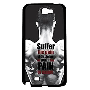 "Black, White, and Red ""Suffer the Pain of Discipline, or Suffer the Pain of Regret"" Men's Fitness Inspiration Hard Snap on Phone Case (Note 2 II)"