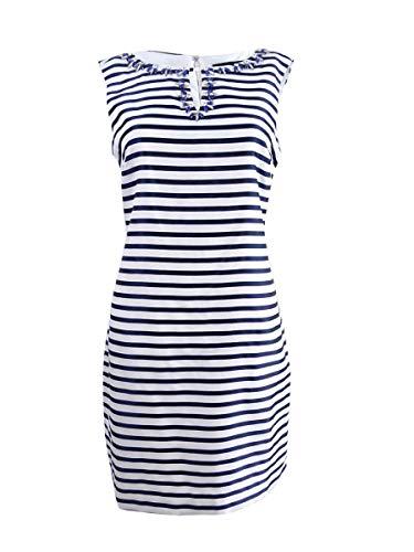 ELLEN TRACY Women's Petite Embellished Striped Sheath Dress (12P, Navy/Ivory)