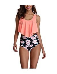 Amstt Bikini Two Pieces Swimsuit for Women Top Ruffled Racerback with High Waisted Bottom Tankini Set