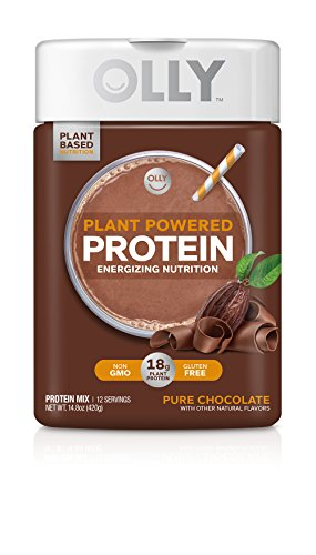 OLLY Protein Powder, 18g Plant-Based Protein, Pure Chocolate, 14.8oz (12 Servings) by Olly