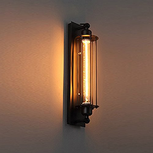 Pauwer Industrial Wall Light Edision Vintage Wall Sconce Light Fixture  Metal Cage Wall Mounted Besides Lamps(One Bulb Included)