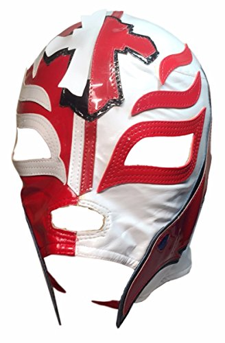 WWE Licensed Rey Mysterio Youths Kid Size Half Red Half White Leather Pro Grade Mask by Main Street 24/7