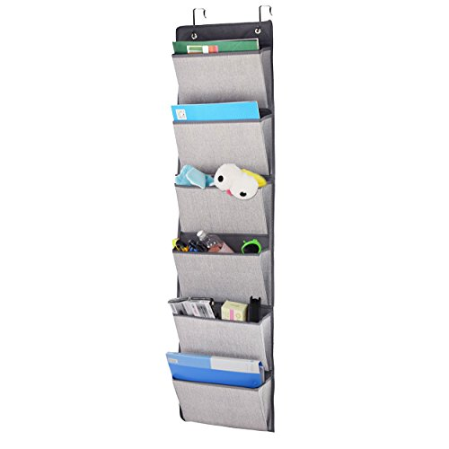 Over the Door Hanging File Organizer, Office Supplies Storage Holder Wall Mount Pocket Chart for Magazine,Notebooks,Planners,File Folders,6 Pockets Grey (Door Hanging Wall)