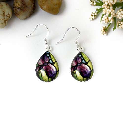 - Purple Iris Flower Glass Teardrop Earrings