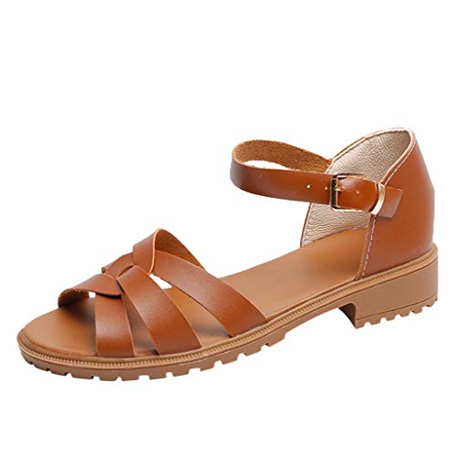 (Gogoodgo Cut Out Sandals for Ladies, Women's Braided Cross Strap Roman Sandals Open Toe Ankle Buckle Breathable SandalsShoes Brown)