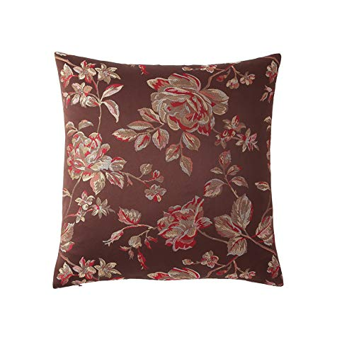 Morgan Home Decorative Throw Pillow Cushions Cover Floral Embroidered Print for Sofa Couch or Bed - 18 x 18 inches, 1 PC