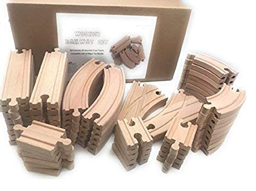 Oojami Wooden Train Track Set 64 Piece Pack - 100% Compatible with All Major Brands Including Thomas, Brio, Chuggington, and Other Major Brands