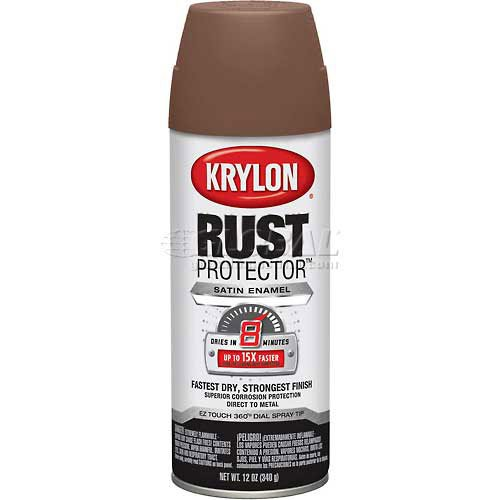 Krylon Rust Preventative Enamel Satin Spice Brown 12oz. Aero