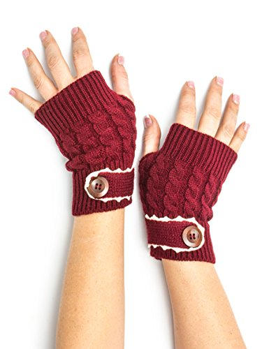 Bohomonde, Tawny Cable Knit Boho Mori Style Armwarmers/Fingerless Gloves with Crochet Lace (Currant)