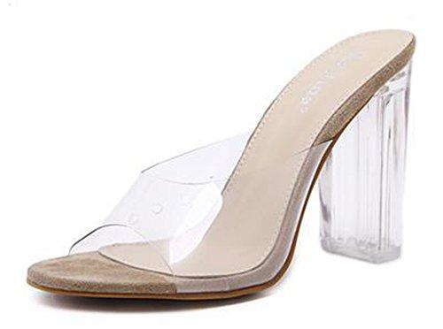 Mules Bloc Talon Abricot Confortable Transparent Cristal Aisun Femme qwYxB4
