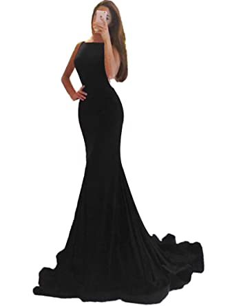 2eb970b1e62c Promworld Women's Mermaid Evening Gowns Open Back Prom Dress Long with  Train Black US2