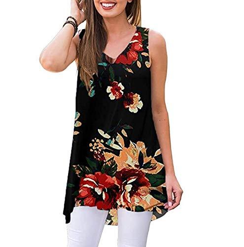 Oritina Women Summer Sleeveless Damask Print High Low HemT-Shirt Sleeveless Sundress 03 Flower Black L