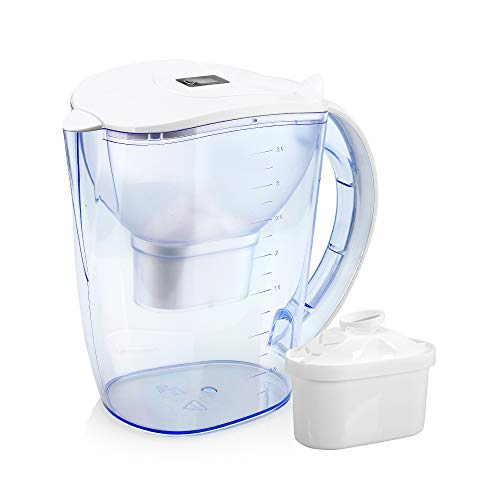 Wellblue Alkaline Water Filter Pitcher with LED Indicator Plus 2xPremium 6 Stages Filter -3.5L Capacity - Removes Chlorine and Contaminants-Increase pH 9.5+, Make Fresh and Heathy Water Anytime!!!