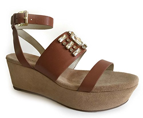 Michael Michael Kors Luna Platform Wedge Luggage Sandals Size 9.5 M