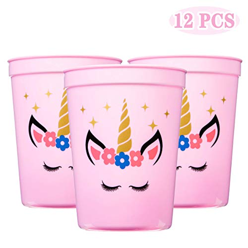 Joy Day Unicorn Cups Unicorn Party Cups for Kids Unicorn Party Supplies Unicorn Keepsake Plastic Cups for Girls Unicorn Party Favors Pink 12OZ (Pack of 12)