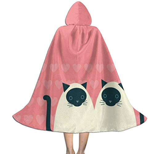 Couple of Siamese Cats Kids Cape Cloak with Hood Unisex Child Cosplay Halloween Christmas ()