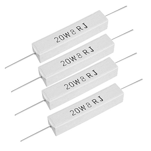 uxcell 20W 8 Ohm Power Resistor Ceramic Cement Resistor Axial Lead White 4pcs