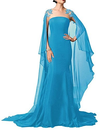 OYISHA Women's Long Appliqued Evening Cocktail Dress Beaded Celebrity Gown PM241 Blue 2