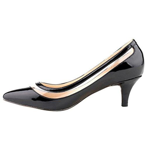 EKS - Zapatos de tacón fino Mujer Negro - Schwarz-Lackleder