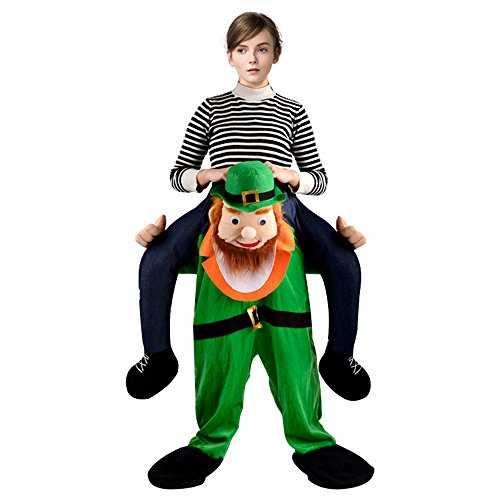 [LUCKSTAR Halloween Piggyback Ride On Riding Shoulder Adult Costume Cosplay Christmas Costumes for Christmas Halloween Cosplay Birthday Party (Green Old Man)] (Old Woman Carrying Man Costume)