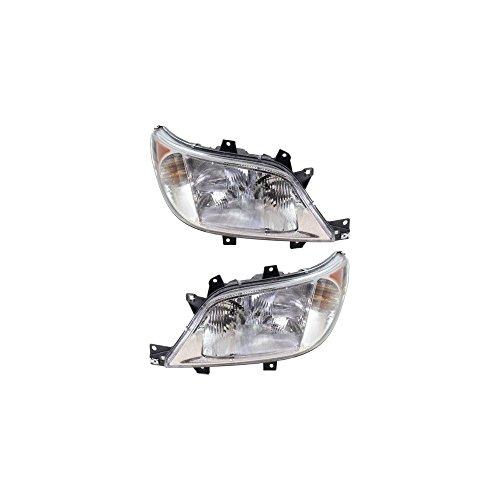 Evan-Fischer EVA13572066066 Headlight Set Of 2 For Dodge/Freightliner Sprinter Van 03-06 Right and Left Side Assembly Halogen ()