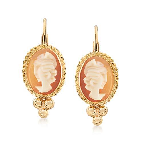 Ross-Simons Bezel-Set Shell Cameo Drop Earrings in 14kt Yellow Gold