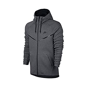 NIKE Mens Sportswear Tech Fleece Windrunner Hooded Sweatshirt Carbon Heather/Black 805144-091 Size X-Large