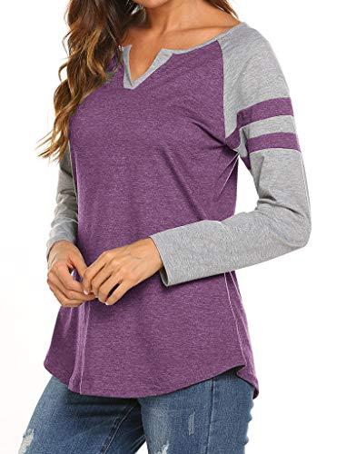Locryz Women's Long Sleeve Baseball Tee Shirt V Neck Colorblock Striped Tunic Tops L Purple ()